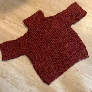 Tracy Reese Fluffy Burgundy Cowl Sweater